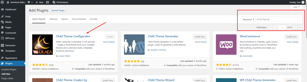 "Screenshot of showing to search for ""child theme"" and select the first option ""child theme configurator"""