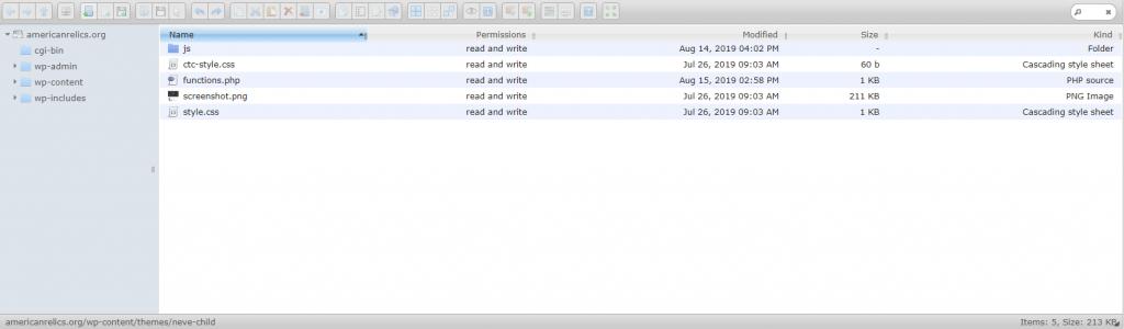 Screenshot of wordpress file manager