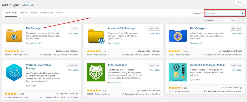 Screenshot of plugins showing to download WordPress File Manager