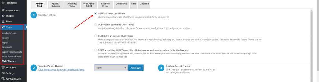 Screenshot of child theme configurator showing how to set it up.